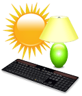 K750 keyboard with sun and lamp